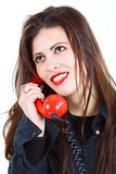 Beautiful woman with retro telephone Stock Image