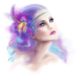 Beautiful woman retro vintage portrait fashion illustration Royalty Free Stock Images