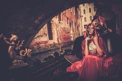 Beautiful woman riding on gondola Royalty Free Stock Image