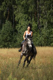 Beautiful woman riding gray horse in the forest Stock Image