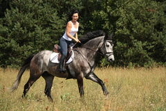 Beautiful woman riding gray horse in the forest Royalty Free Stock Image