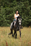 Beautiful woman riding gray horse in the forest Stock Photos