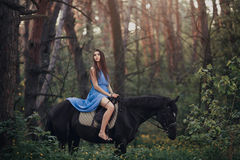 Beautiful woman riding horse in forest. Young beautiful brunette girl in blue dress ride on the black horse in forest Royalty Free Stock Photos