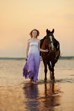 Beautiful woman riding a horse at sunset on the beach. Young gir. Beautiful woman riding a horse at sunset on the beach. Young beauty girl with a horse in the Stock Photos