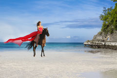 Beautiful woman riding a horse on tropical beach. Young beautiful woman riding a horse on tropical beach Royalty Free Stock Photos