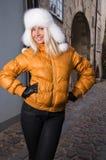 Beautiful woman in Riga old town Royalty Free Stock Photo