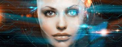 Beautiful woman robot, cyborg, laser