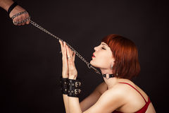 Beautiful woman in the role of a slave. On a leash Royalty Free Stock Photography