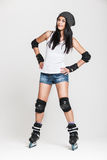 Beautiful woman in roller skates Royalty Free Stock Images