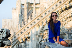 Beautiful woman on on the rooftop of Duomo, Milan Stock Images