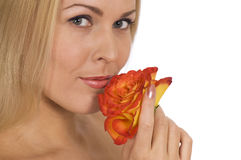 Beautiful woman with rose Royalty Free Stock Photography