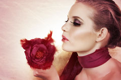 Beautiful woman with rose. royalty free stock photography