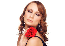 Beautiful woman with rose Stock Images