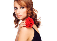 Beautiful woman with rose Royalty Free Stock Images