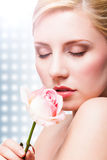 Beautiful woman with a rose royalty free stock image