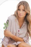 Beautiful woman with rose. Bright picture of beautiful woman with rose Stock Photos
