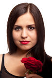 Beautiful woman with rose in hand on white Royalty Free Stock Photo