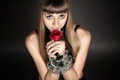 Beautiful woman with a rose Royalty Free Stock Photos