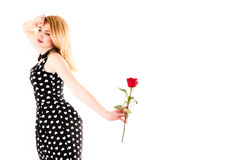 Beautiful woman with rose. Isolated on white background stock photos