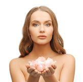 Beautiful woman with rose petals. Picture of beautiful woman with rose petals Stock Photos