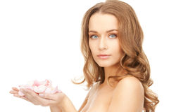 Beautiful woman with rose petals. Picture of beautiful woman with rose petals Stock Images