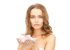 Beautiful woman with rose petals. Picture of beautiful woman with rose petals Stock Image