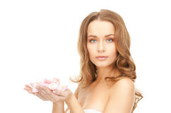 Beautiful woman with rose petals. Picture of beautiful woman with rose petalsr Royalty Free Stock Image