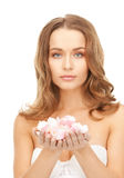 Beautiful woman with rose petals. Picture of beautiful woman with rose petalsr Stock Photo
