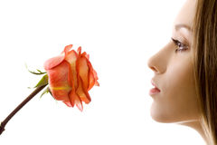 Beautiful woman with rose sideview isolated Stock Image