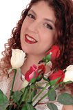 Beautiful woman with roses. stock photography