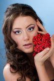 Beautiful woman with rowan berry Royalty Free Stock Photography