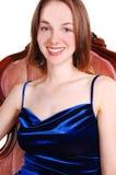Beautiful woman in royal blue dress. Stock Photo