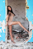 Beautiful woman in ruined building Royalty Free Stock Photo
