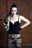 Beautiful woman with russian bazooka RPG - 18. Muha Stock Images