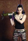 Beautiful woman with russian bazooka RPG - 18 Stock Images