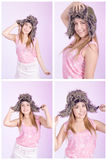 Beautiful woman with russian hat set Stock Photos