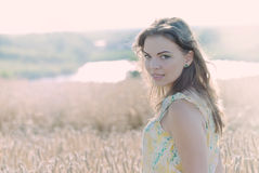 Beautiful woman in the Rye. The model name is Anca Milea - Photo taken in Ilfov - Romania stock photography