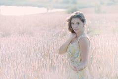 Beautiful woman in the Rye Stock Photo