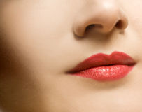 Beautiful woman's face. With red lips Stock Photo