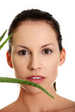 Beautiful woman's face and aloe vera. Royalty Free Stock Photo