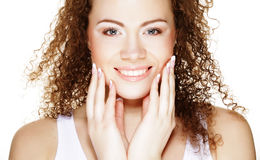 Beautiful woman`s face with clean skin Stock Photography