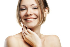 Beautiful woman's face with clean skin on white Stock Photo