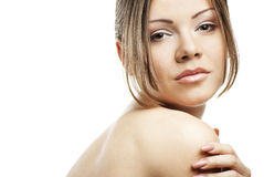Beautiful woman's face with clean skin on white Royalty Free Stock Image