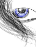 Beautiful Woman's face close with the eye and hair Royalty Free Stock Photo
