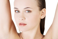 Beautiful woman's face with fresh clean skin Royalty Free Stock Images