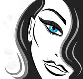 Beautiful womans face. Illustration Stock Photo