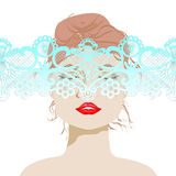 Beautiful woman's face with lace, woman, bright lips, a gentle lace, vector illustration Stock Photo