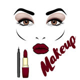 Beautiful woman`s face with makeup. Eyes and lips. Cosmetics. Vector illustration for a card or poster. Print on clothes. Advertis Royalty Free Stock Photography