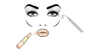 Beautiful woman`s face with makeup. Eyes and lips. Cosmetics. Vector illustration for a card or poster. Print on clothes. Advertis Stock Photos