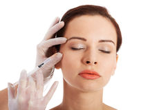 Beautiful woman's face is prepared to medical surgery. Stock Images